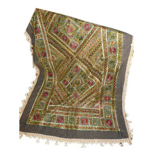Mogul Interior - Golden Red Sofa Throw Hand Embroidered Gypsy Decor Table Runner Tapestry - Tapestries