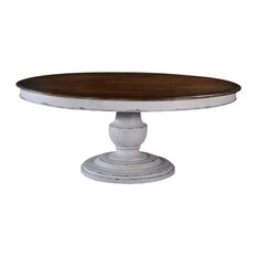 Dining Table Scottsdale Round Antique White Wood Pedestal Base Rustic