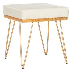 Jenine Faux Ostrich Square Bench, Creme, Gold