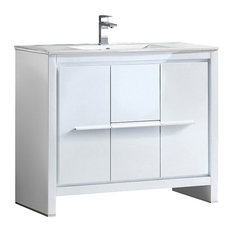 "Allier 40"" Modern Bathroom Cabinet, With Sink, Base: White"