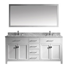 "Caroline 72"" Double Bathroom Vanity Set With Single Mirror, White/Marble"