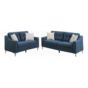 2 Piece Fabric Sofa Loveseat Set With 4 Accent Pillows, Navy By Infinite  2018