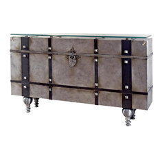 VIAJE Console Distressed Silver Bronze Tones Glass Iron Hand-Crafted