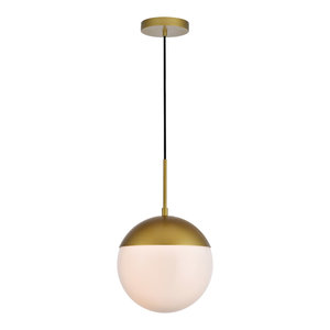 """10"""" Modern 1-Light Pendant With Frosted White Glass, Brass"""