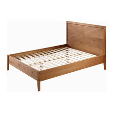 Transitional Solid Pine Wood Queen Bed, Caramel