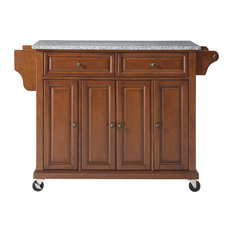 Solid Granite Top Kitchen Cart/Island, Classic Cherry Finish