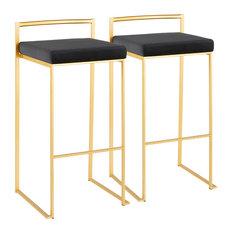 Lumisource Fuji Barstool, Gold With Black Velvet, Set of 2