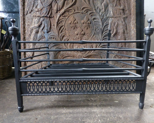We always have 25+ antique and vintage fireplace baskets - grates in stock that can be ordered on line. See our current stock at https://www.firebacks.net/fireplace-grates.html. We deliver worldwide