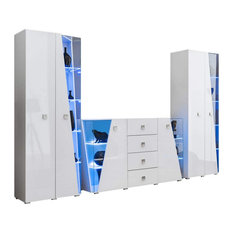 Edge Set SB-BK-BK Modern Wall Unit Entertainment Center White