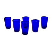 Cobalt Angles, Set of 6 Drinking Glasses, Mexico