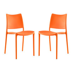 Modway Hipster Dining Side Chairs, Set of 2, Orange