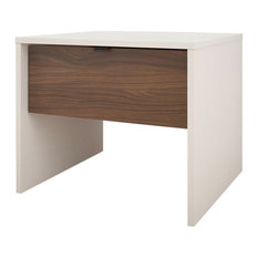 Alineo Nightstand With Drawer, White and Walnut