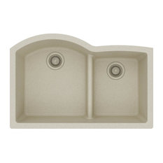 "Elkay - Elkay ELGHU3322RBQ0 Quartz 33"" Double Bowl Undermount Sink With Divide, Bisque - Kitchen Sinks"