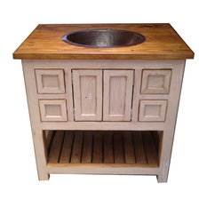 Rustic Old White Weathered Wood Bathroom Vanity, 36""