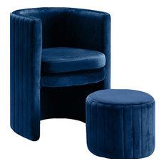 Selena 2-Piece Velvet Accent Chair and Ottoman Set, Navy