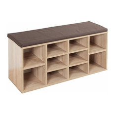Contemporary Shoe Storage Rack, Solid Wood, Sonoma Oak