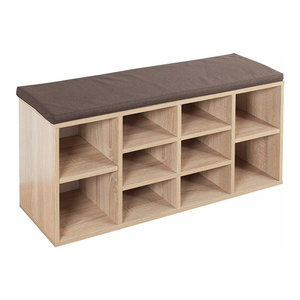 Contemporary Shoe Storage Rack, Solid Wood, Sonoma Oak