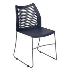 Hercules Series 661 Lb. Capacity Sled Base Stack Chair With Air-Vent Back Navy