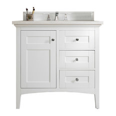 "James Martin Palisades 36"" Bright White Vanity, 3cm Santa Cecilia Granite Top Wi"
