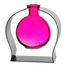 Ball Recycled Glass Vase and Arched Metal Stand, Fuchsia