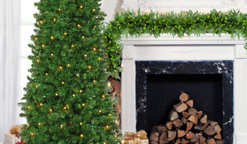 Pre-Lit Christmas Trees, Wreaths and Garlands With Free Shipping