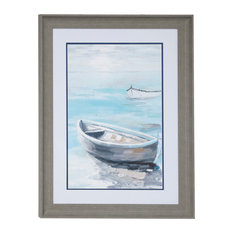 Coastal Decor Row Boat Painting Print, a Rectangular Wood Frame