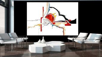 Wandgestaltung - LEDER - INTARSIE -320 x 200 cm