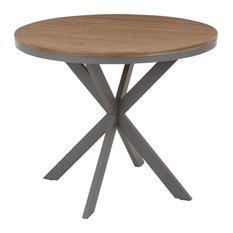 X Pedestal Dinette Table, Grey Metal, Medium Brown Bamboo