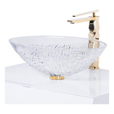 Demedici Ice Oval Crystal Vessel Sink