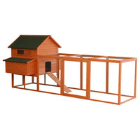 "PawHut 137"" Wood Outdoor Lockable Chicken Coop Kit with Nesting Box and Run"