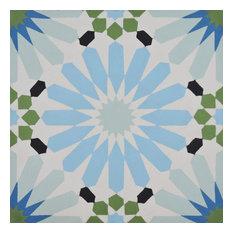 """8""""x8"""" Alhambra Handmade Cement Tile, Blue/Green/Black, Set of 12"""