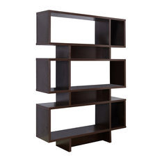 Wood Cube Bookcase Display Cabinet, Espresso