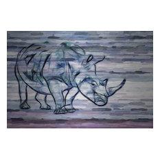 """""""Rhinoceros"""" UV Ink Print on Brushed  Aluminum, 45""""x30"""""""
