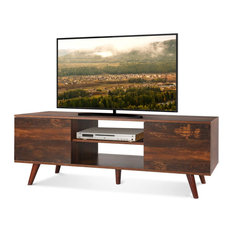 Mid-Century Modern TV Stand 2 Cabinets And Open Compartments Rustic Oak