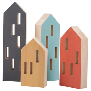 Wooden House Ornaments, Set of 4, Mediterranean Colours