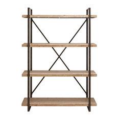4 Tier Wood Utility Storage Shelf Metal Frame Storage Furniture Decor 34853