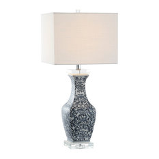 """May 28"""" Ceramic, Crystal LED Table Lamp, Blue, White"""