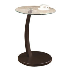 Bowery Hill Glass Top End Table in Cappuccino and Clear