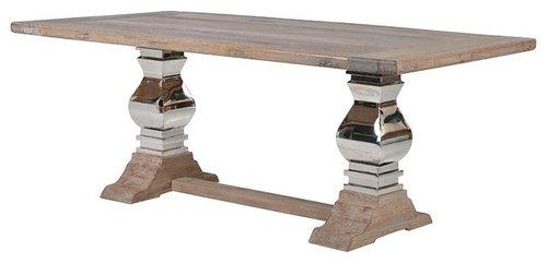 スチール/ウッド・リファクトリーテーブル - ダイニングテーブル