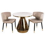 """Statements by J - Gigi Bistro Table With Dining Chairs, Gray, 2 Chairs - Marble top bistro table comes either with 2 curved chairs in gray color. Chairs seat height 18""""."""