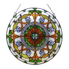 "VIOLETTA, Tiffany-glass Victorian Window Panel, 24"""
