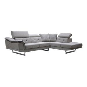 Divani Casa Gaviota Modern Gray Fabric Sectional Sofa