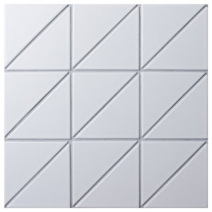 "10.88""x10.88"" Tri Super Iso Porcelain Mosaic Floor and Wall Tile, Matte White"