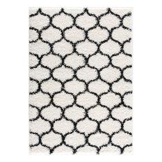 L'Baiet Desiree Cozy Trellis White Modern Soft Shag 8' x 10' Fabric Area Rug