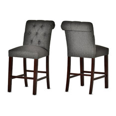 Steve Silver Benson Counter Chair, Charcoal Gray, Dark Cherry, Set of 2