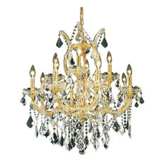 Maria Theresa 13-Light Chandelier, Elegant Cut Clear Crystal, Gold