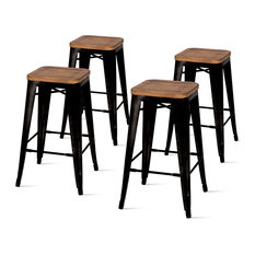 Metropolis Backless Counter Stool With Wood Seat, Black