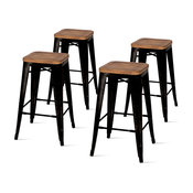 Metropolis Backless Counter Stools, Black, Set of 4