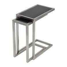 Alfa Nesting Table, 2-Piece Set, Black Glass