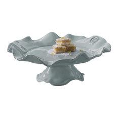 Ceramic Pedestal Aqua Medallion Cake Plate